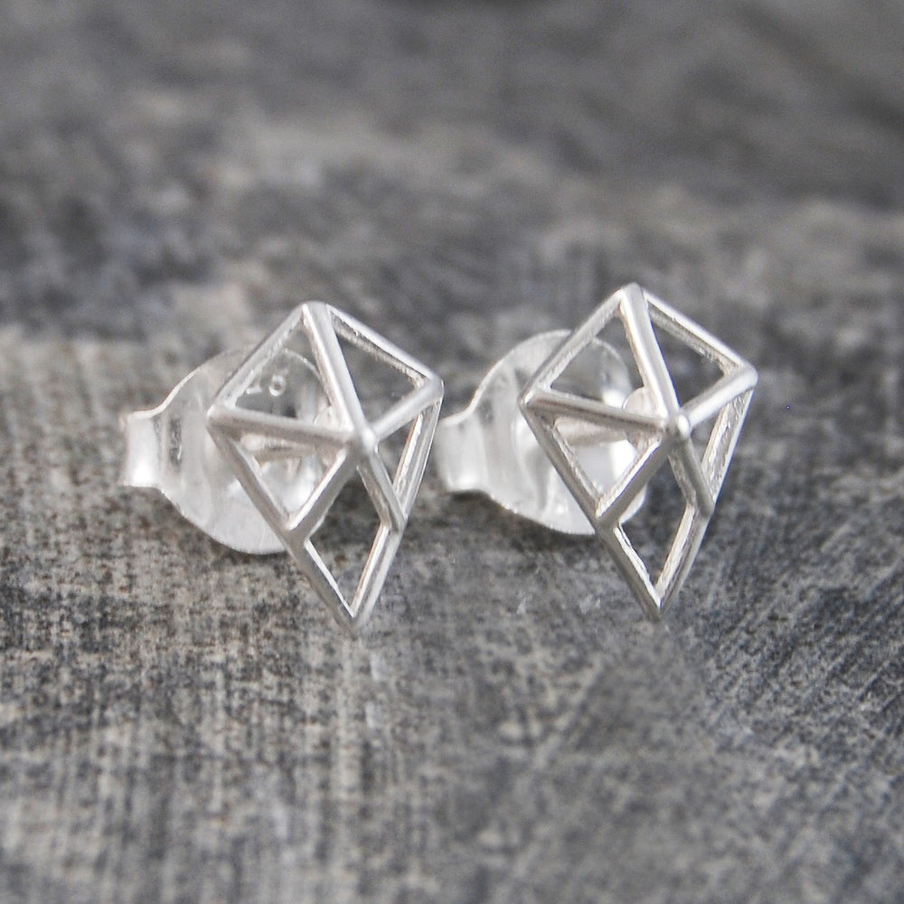 Geometric Diamond Silver Stud Earrings