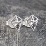 Geometric Diamond Silver Stud Earrings - Otis Jaxon Silver Jewellery