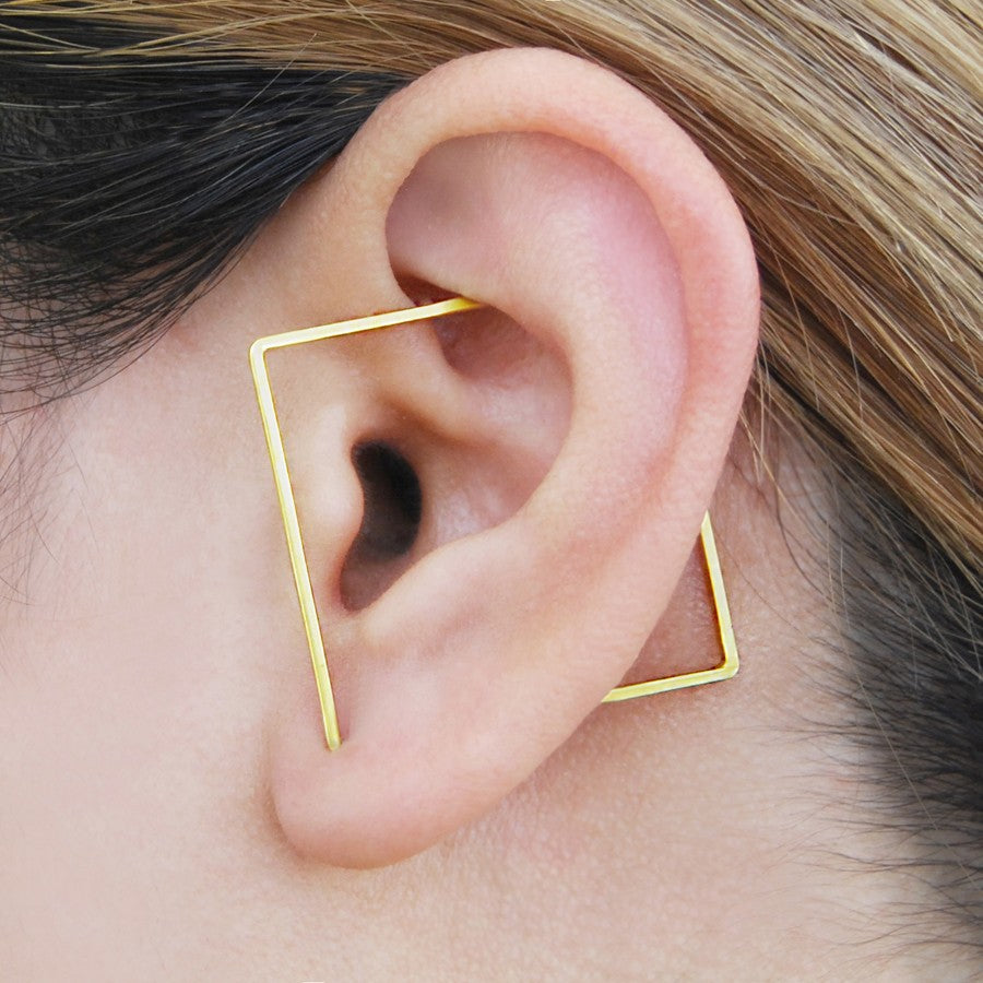 Square Gold Ear Cuffs - Otis Jaxon Silver Jewellery