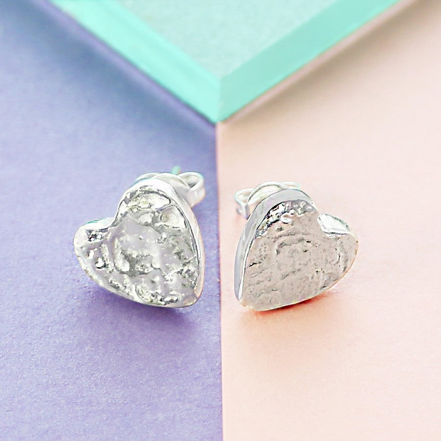 Organic Heart Silver Stud Earrings