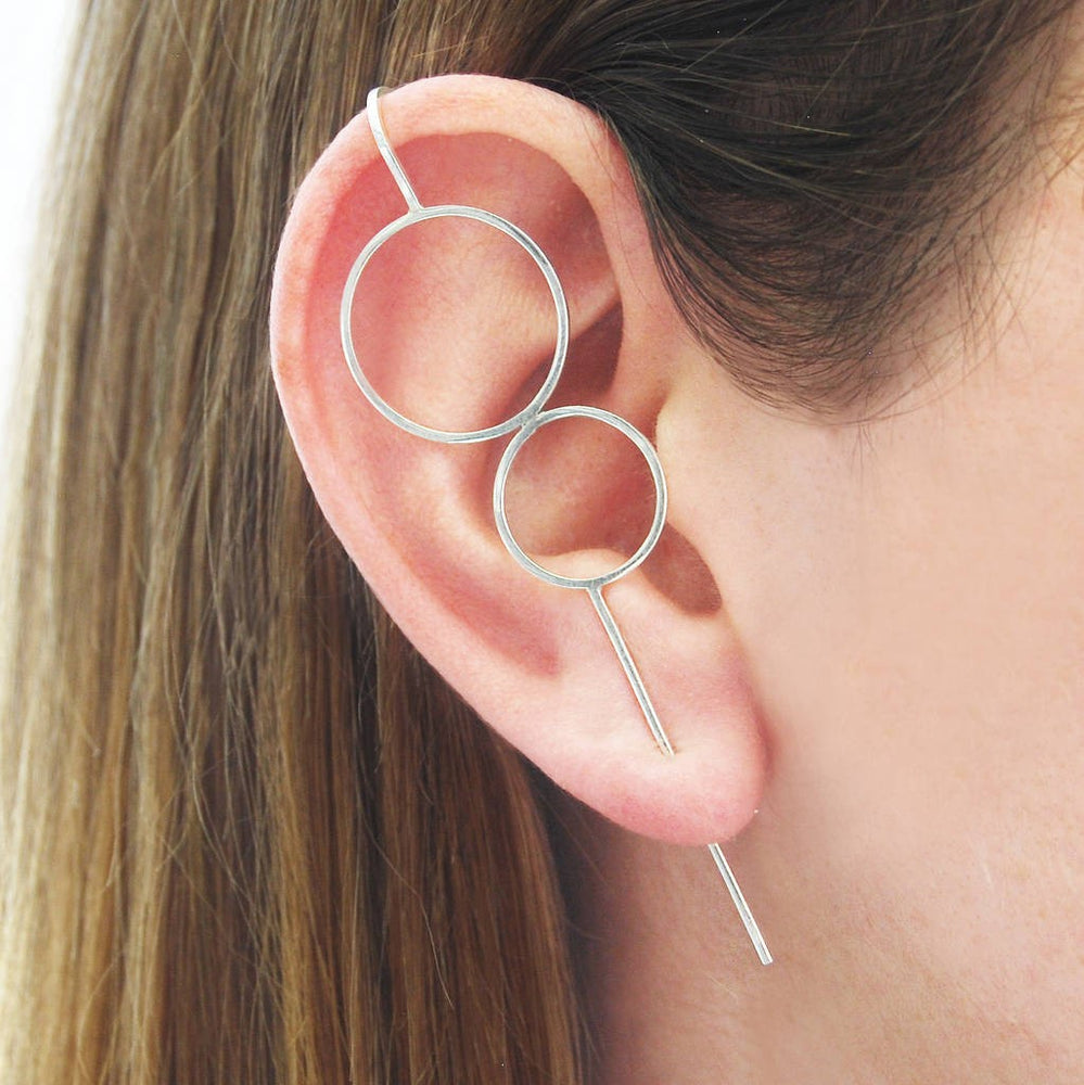 Sterling Silver Double Circle Ear Climbers - Otis Jaxon Silver Jewellery