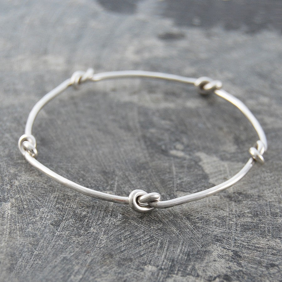 Nautical Knot Silver Bangle
