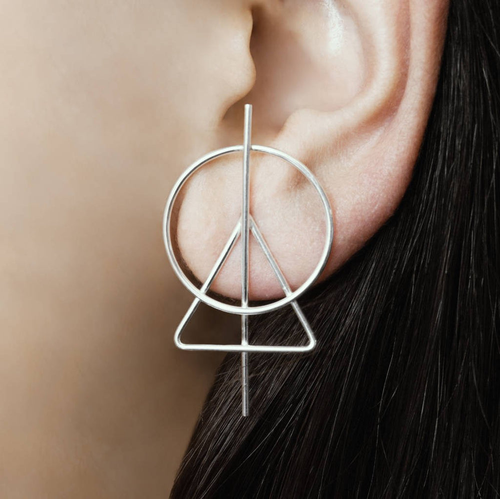Triangle Silver Geometric Stud Earrings - Otis Jaxon Silver Jewellery