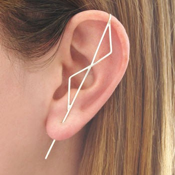 Silver Double Triangle Ear Climbers