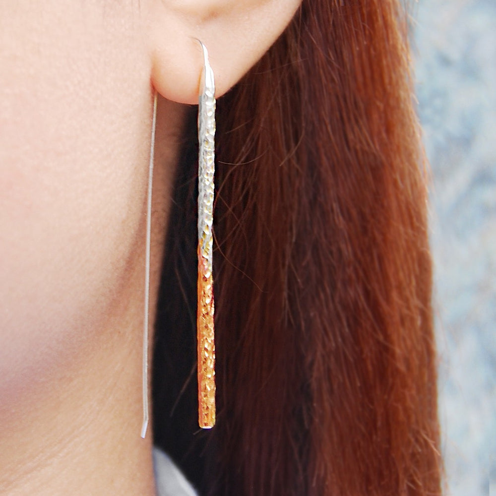 Textured Rose Gold Bar Earrings