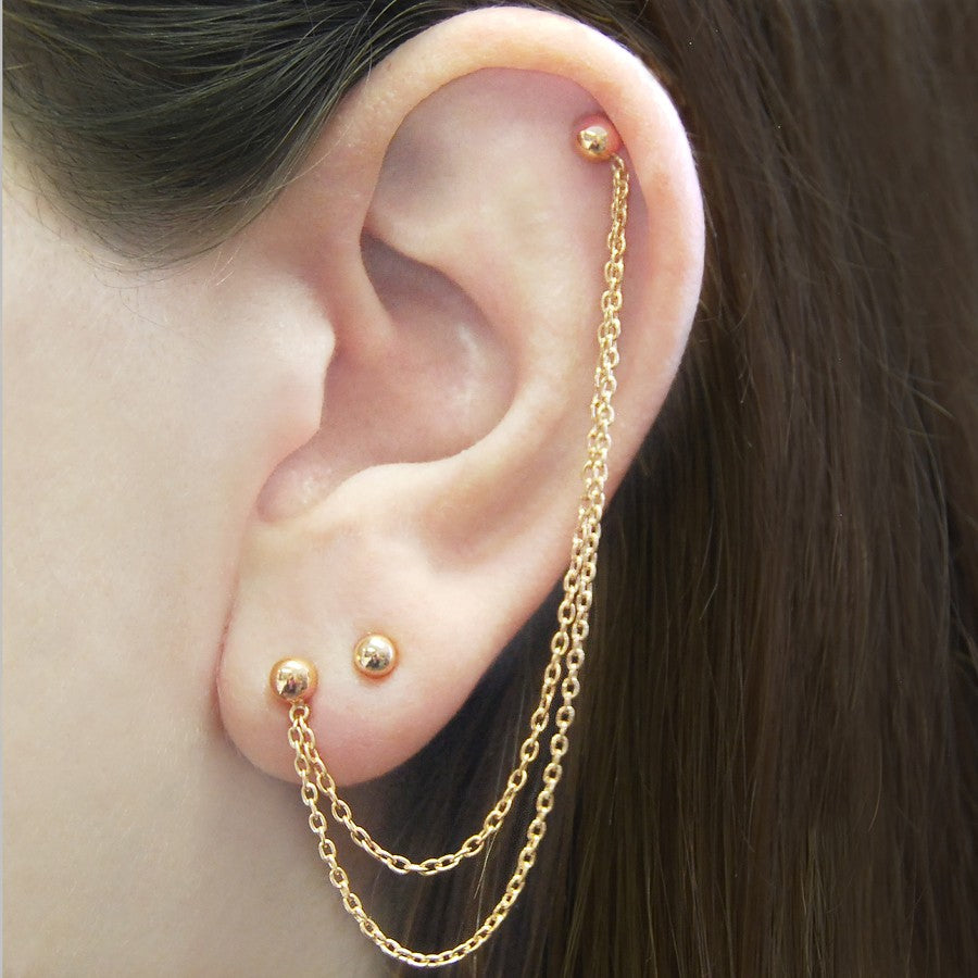 Ball Stud Rose Gold Chain Earrings