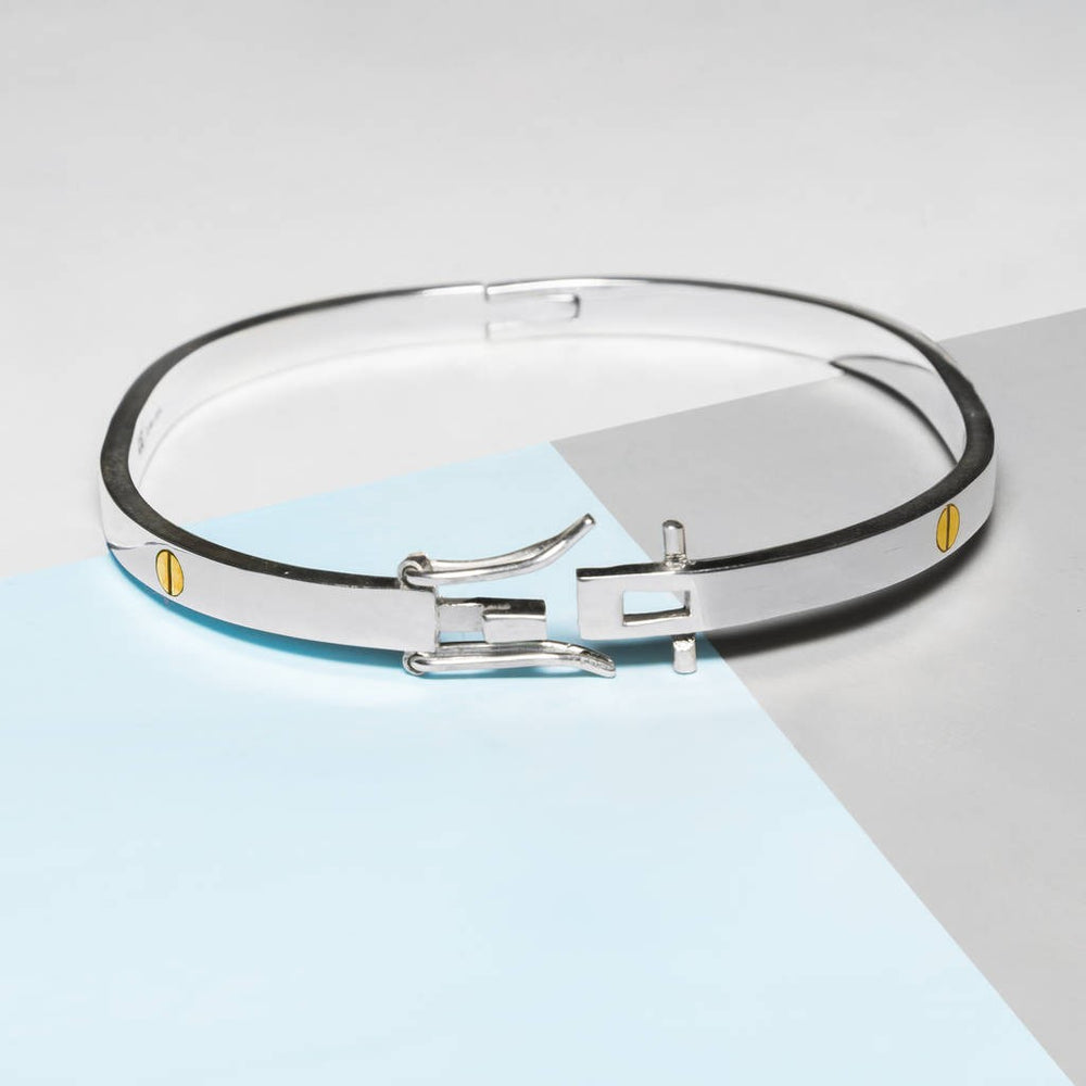 Solid Silver Screw Accent Bangle - Otis Jaxon Silver Jewellery