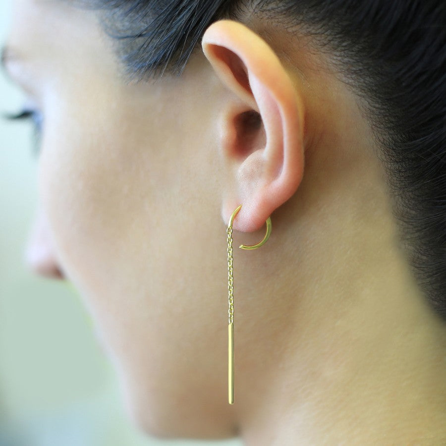 Gold Chain Long Drop Earrings