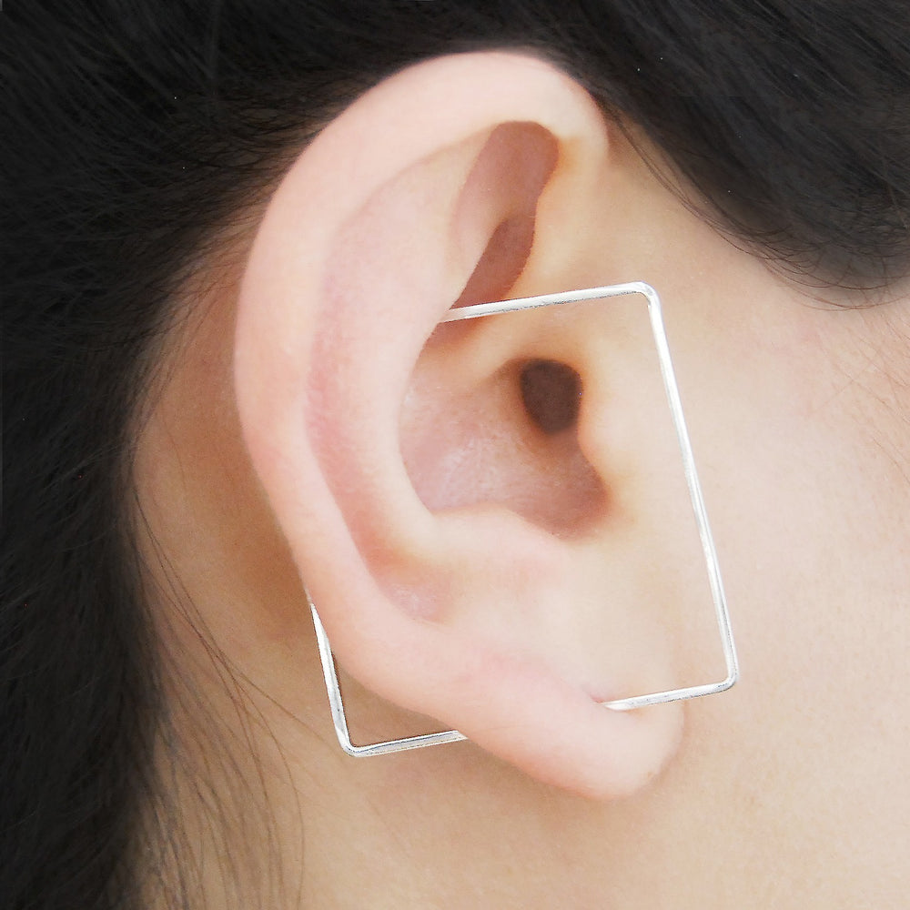 Square Silver Ear Cuffs