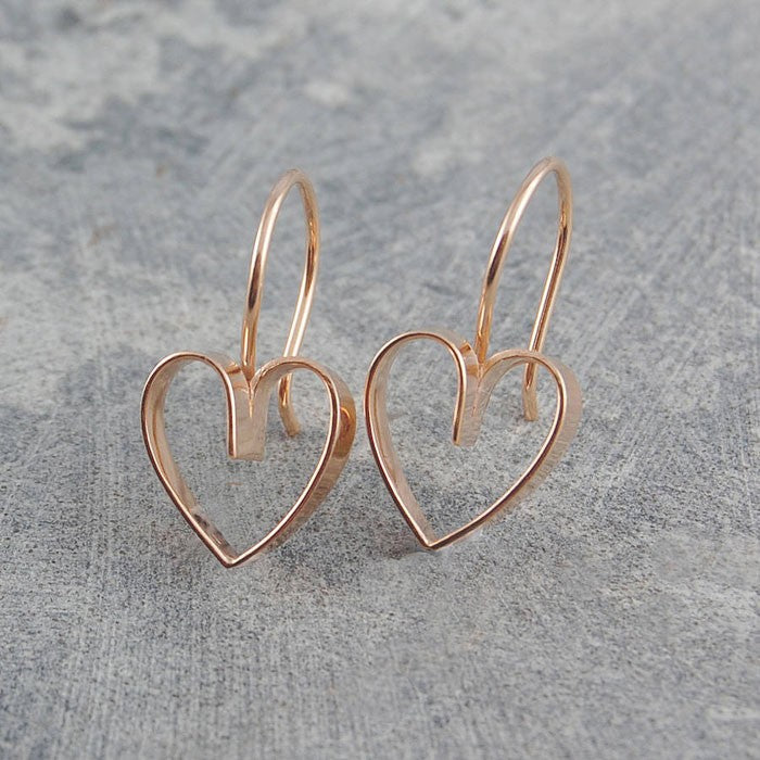 Lace Rose Gold Heart Earrings - Otis Jaxon Silver Jewellery