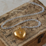 White Topaz and Gold Heart Locket