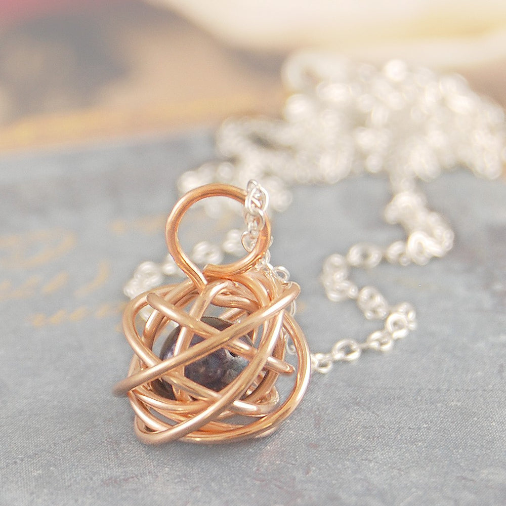 Rose Gold Caged Dark Pearl Necklace