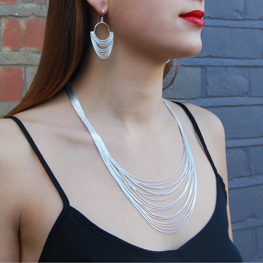 Graduated Layered Silver Necklace - 15 Strands