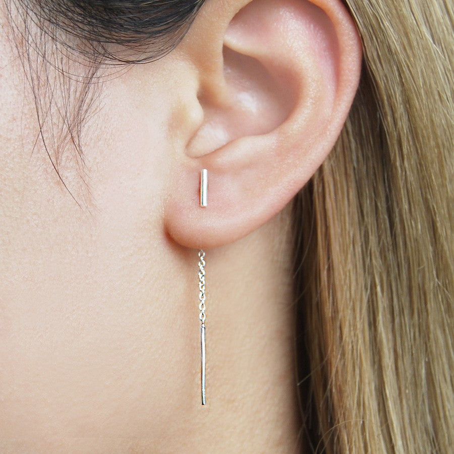 Bar Silver Threader Earrings - Otis Jaxon Silver Jewellery