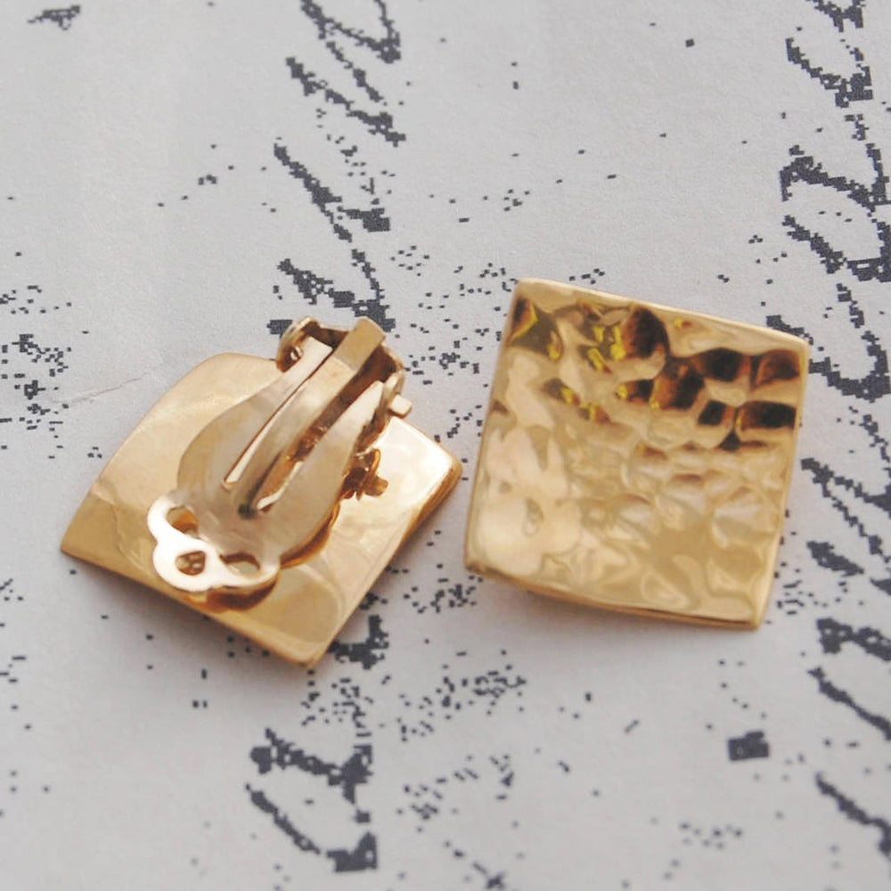 Rose Gold Square Clip On Earrings