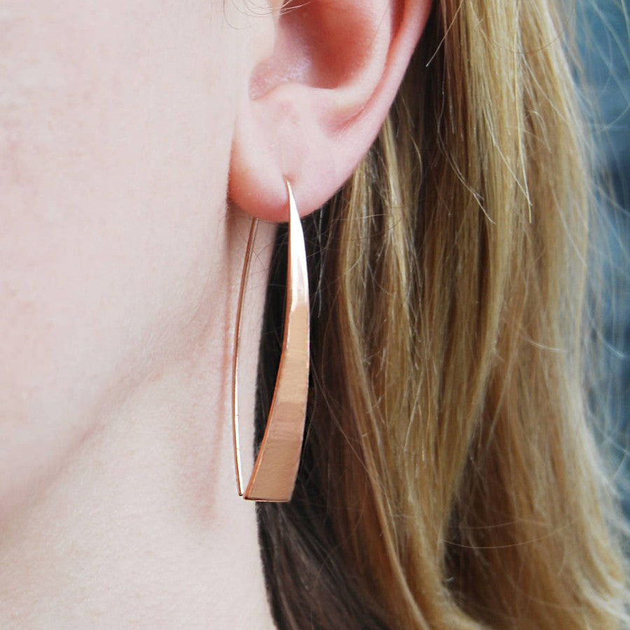 Elliptical Rose Gold Drop Earrings - Otis Jaxon Silver Jewellery