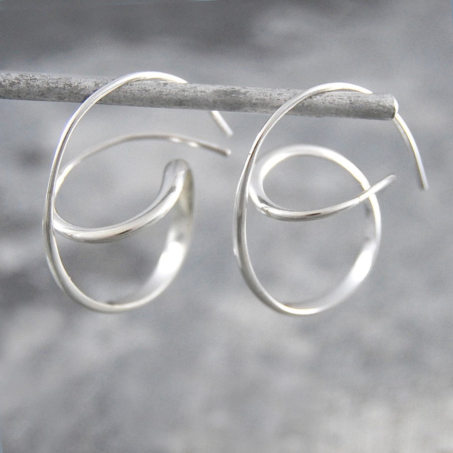 Swirl Silver Hoop Earrings - Otis Jaxon Silver Jewellery
