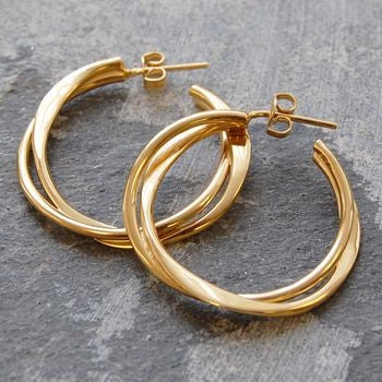 Interwoven Gold Hoop Earrings