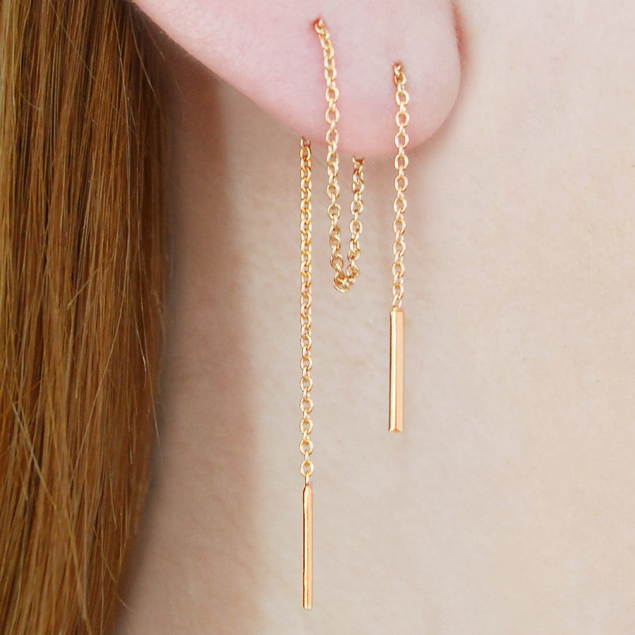 Threader Gold Long Drop Earrings - Otis Jaxon Silver Jewellery