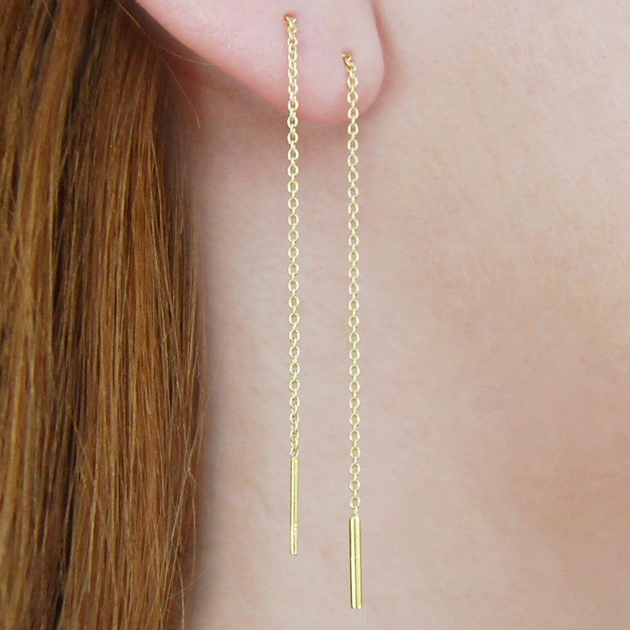 Threader Gold Long Drop Earrings
