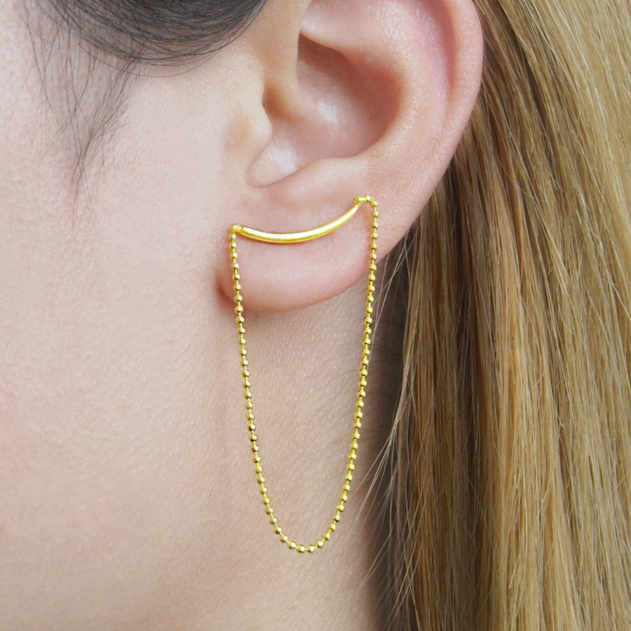 Gold Chain Stud Drop Earrings