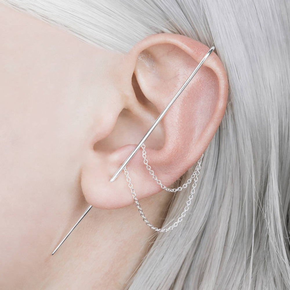 Silver Double Chain Ear Cuff Earrings - Otis Jaxon Silver Jewellery