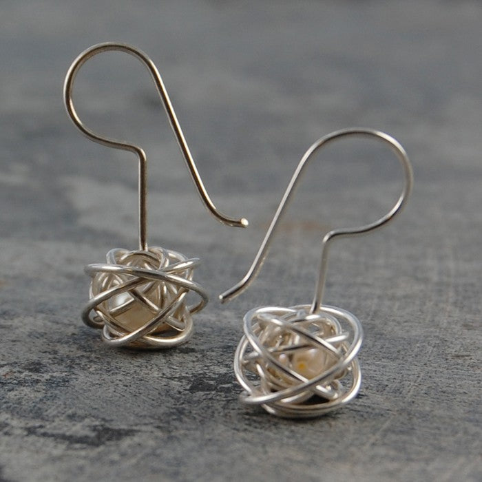 Caged Pearl Silver Drop Earrings in White