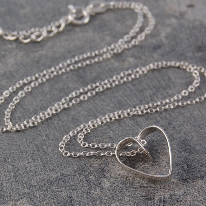Silver Lace Heart Pendant Necklace - Otis Jaxon Silver Jewellery