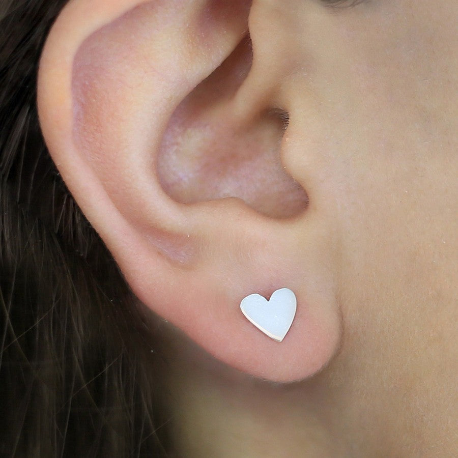 Silver Heart Hoop Ear Jacket - Otis Jaxon Silver Jewellery