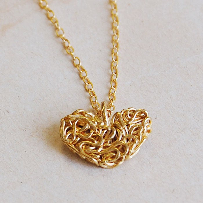 Mesh Gold Heart Pendant Necklace