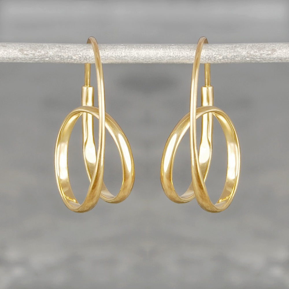 Double Loop Rose Gold Hoop Earrings - Otis Jaxon Silver Jewellery