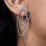 Abstract Geometric Silver Earrings