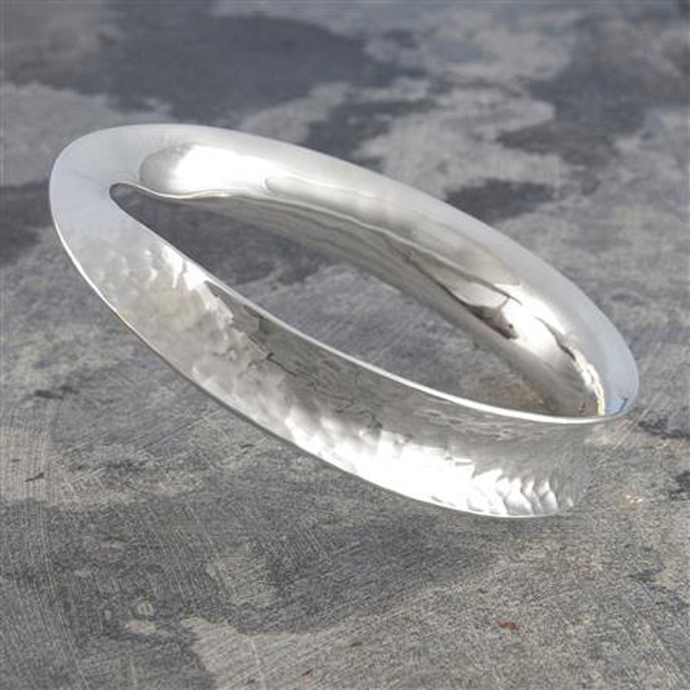 Solid Silver Battered Twist Bangle