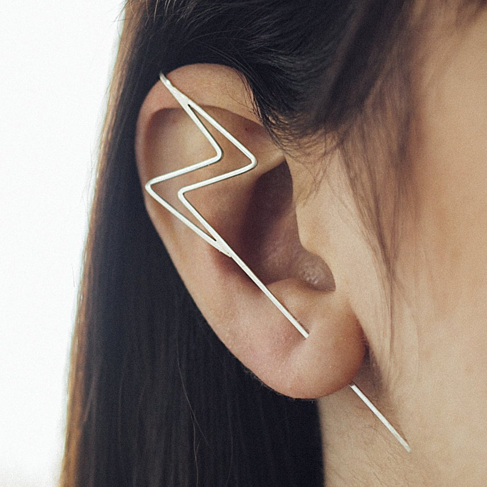 Silver Lightning Bolt Ear Cuff Earrings - Otis Jaxon Silver Jewellery