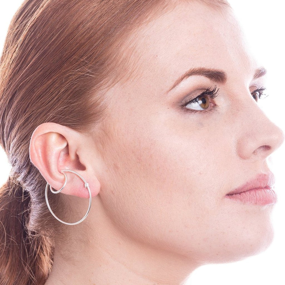 Statement Silver Hoop Ear Cuff Stud Earrings - Otis Jaxon Silver Jewellery