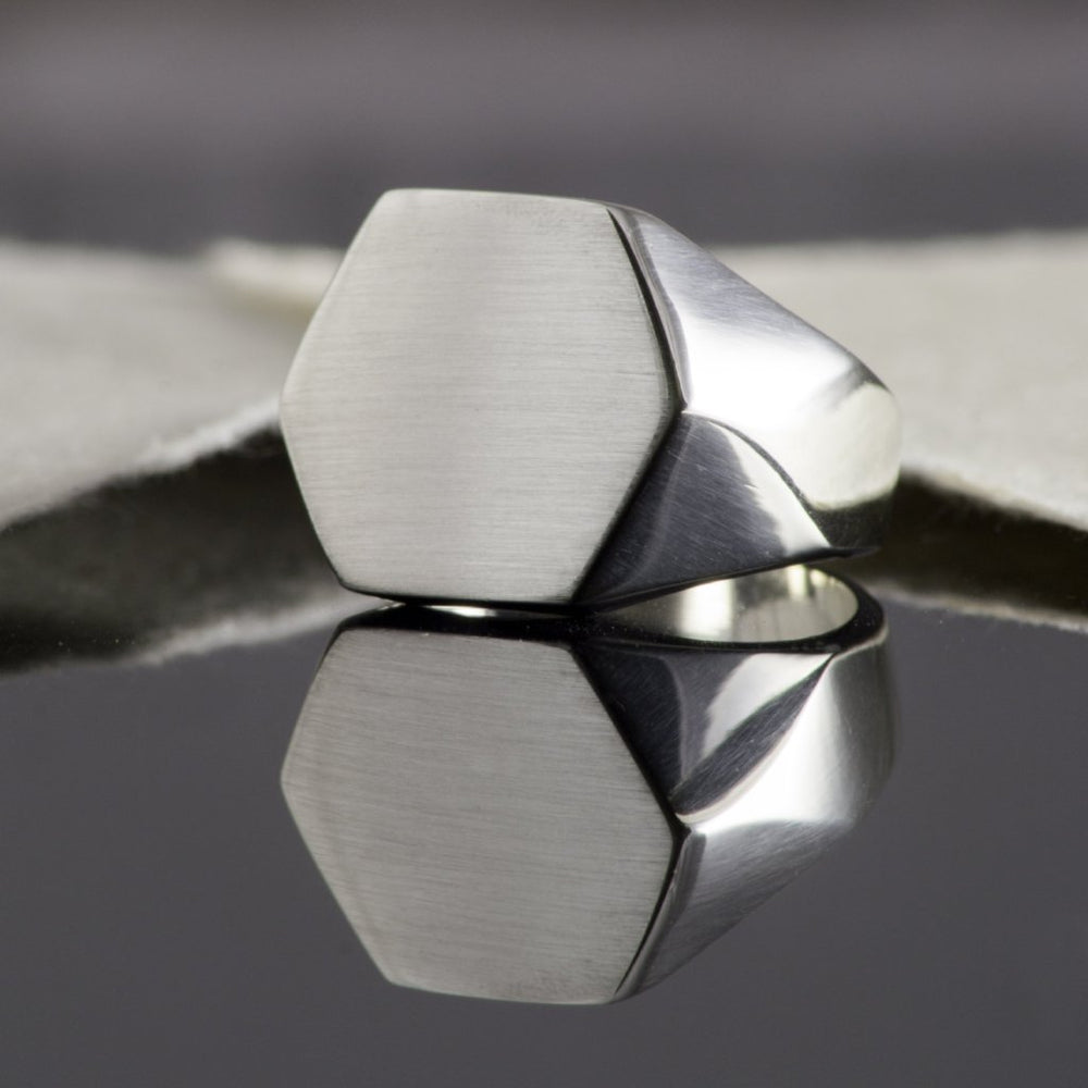 Solid Silver Men's Hexagonal Signet Ring