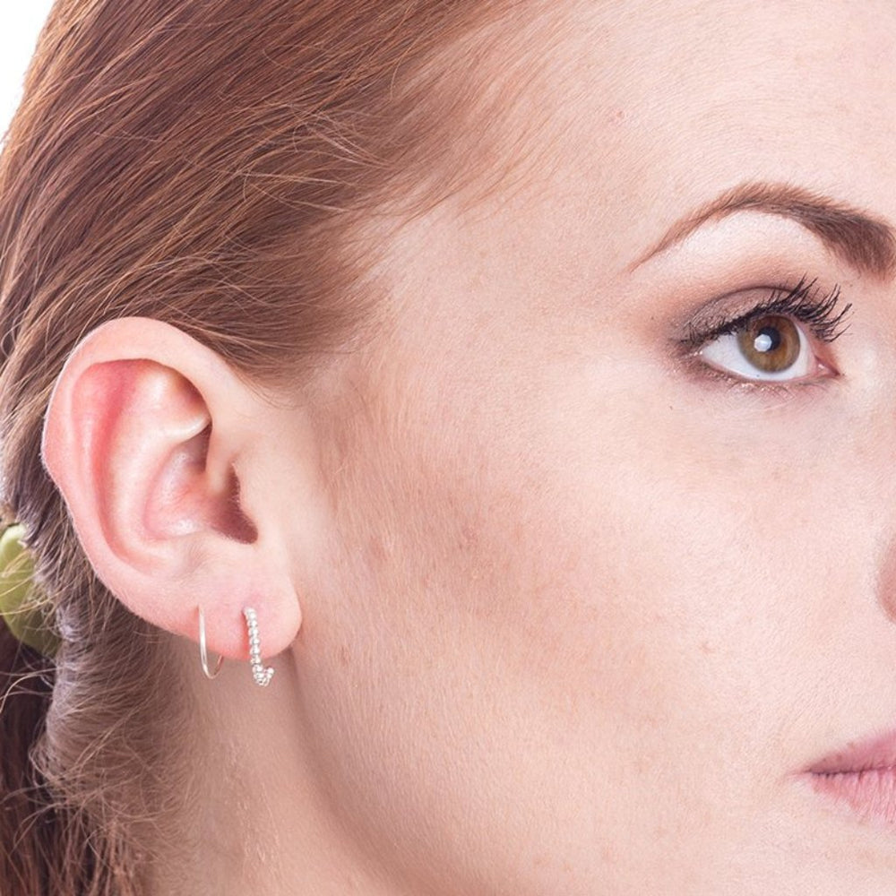 Illusion Beaded Double Hoop Spiral Single Piercing Earrings