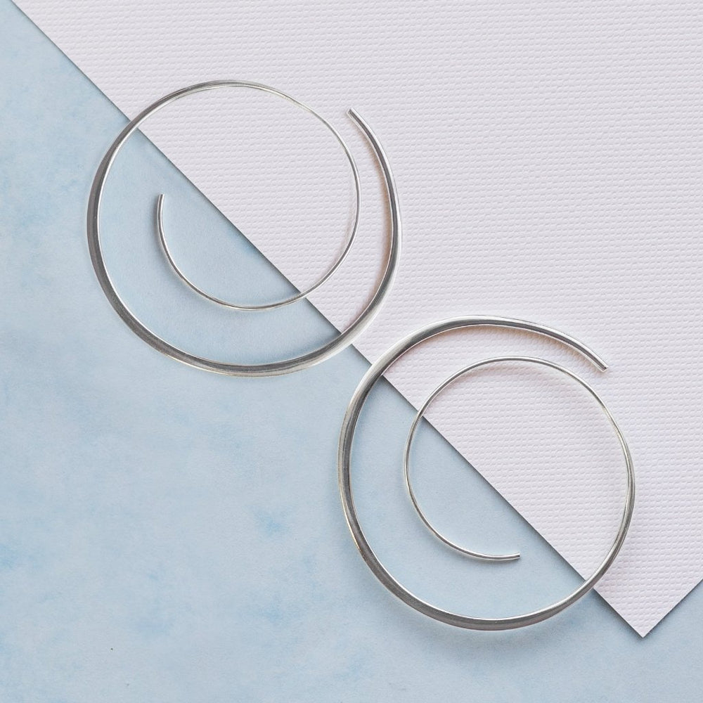 Statement Silver Spiral Hoop Earrings