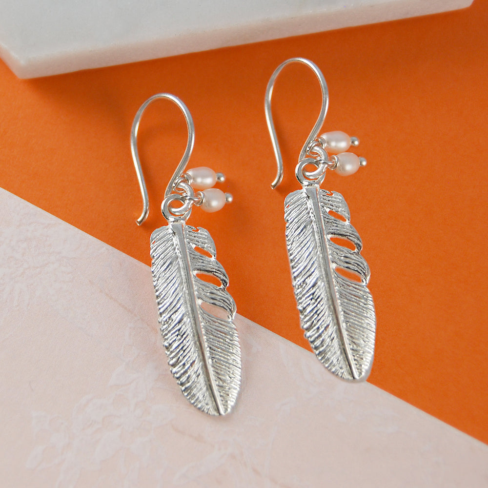 Silver Feather Necklace with Pearls - Otis Jaxon Silver Jewellery