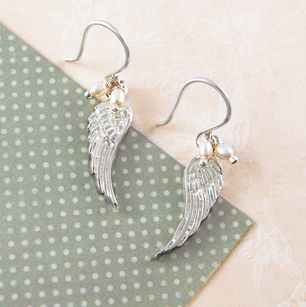 Silver Angel Wing Pearl Drop Earrings - Otis Jaxon Silver Jewellery