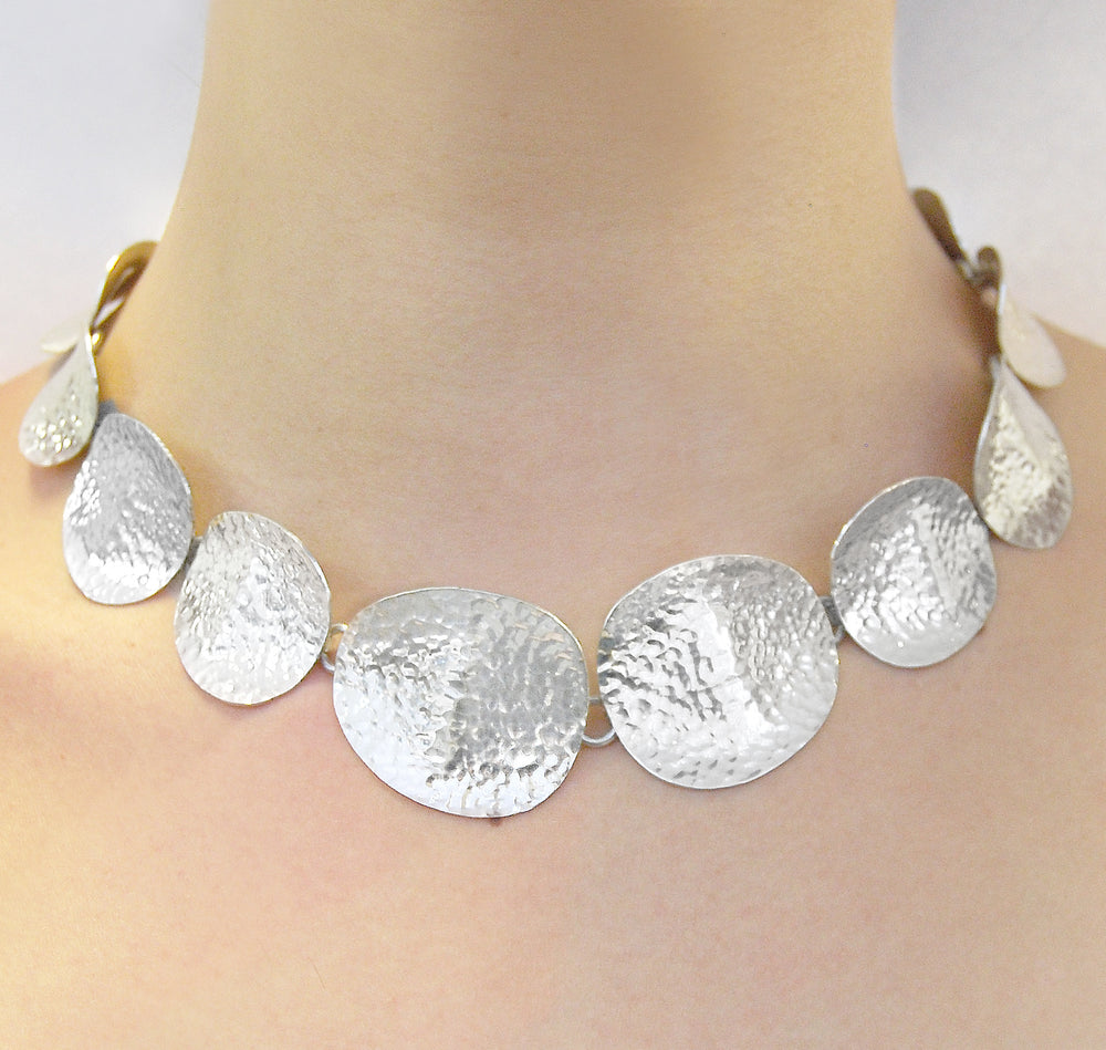 Textured Sterling Silver Petal Statement Necklace