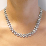 Oval Scales Chunky Silver Necklace