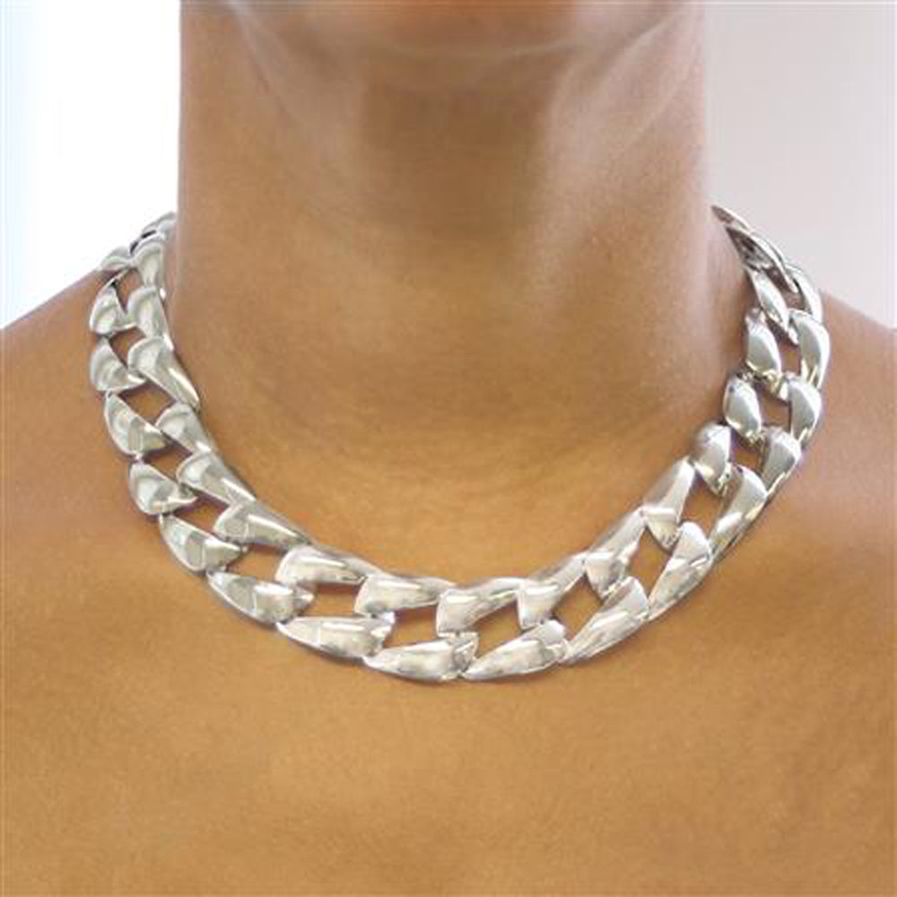 Solid Silver Chunky Square Necklace
