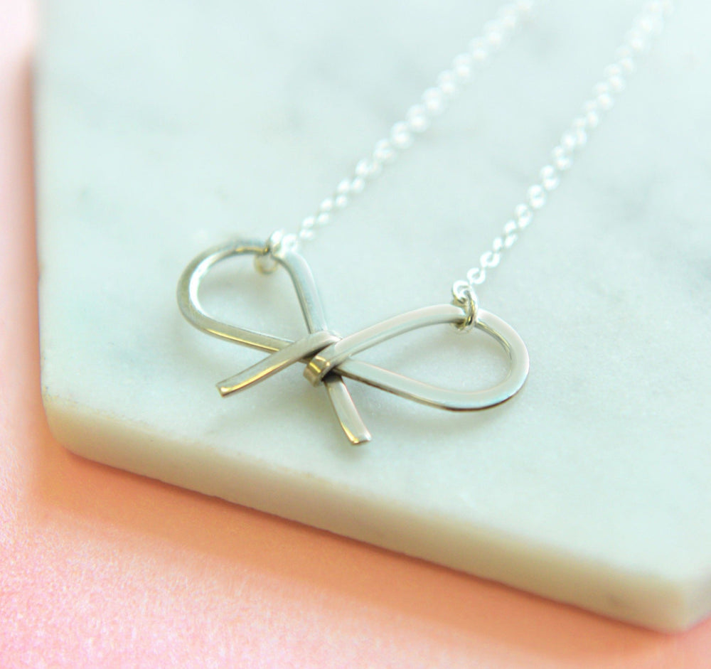 Bow Silver Pendant Necklace