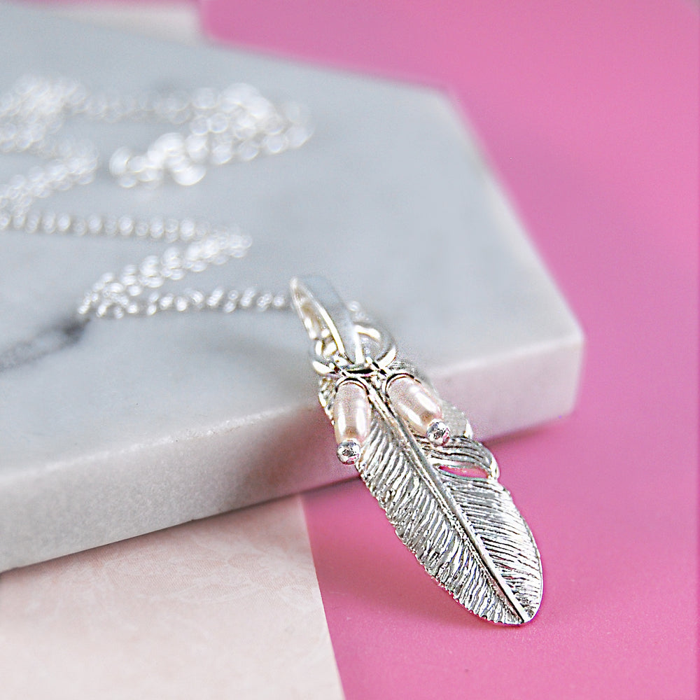 Silver Feather Drop Earrings with Pearls