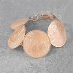 Rose Gold Round Textured Statement Bracelet