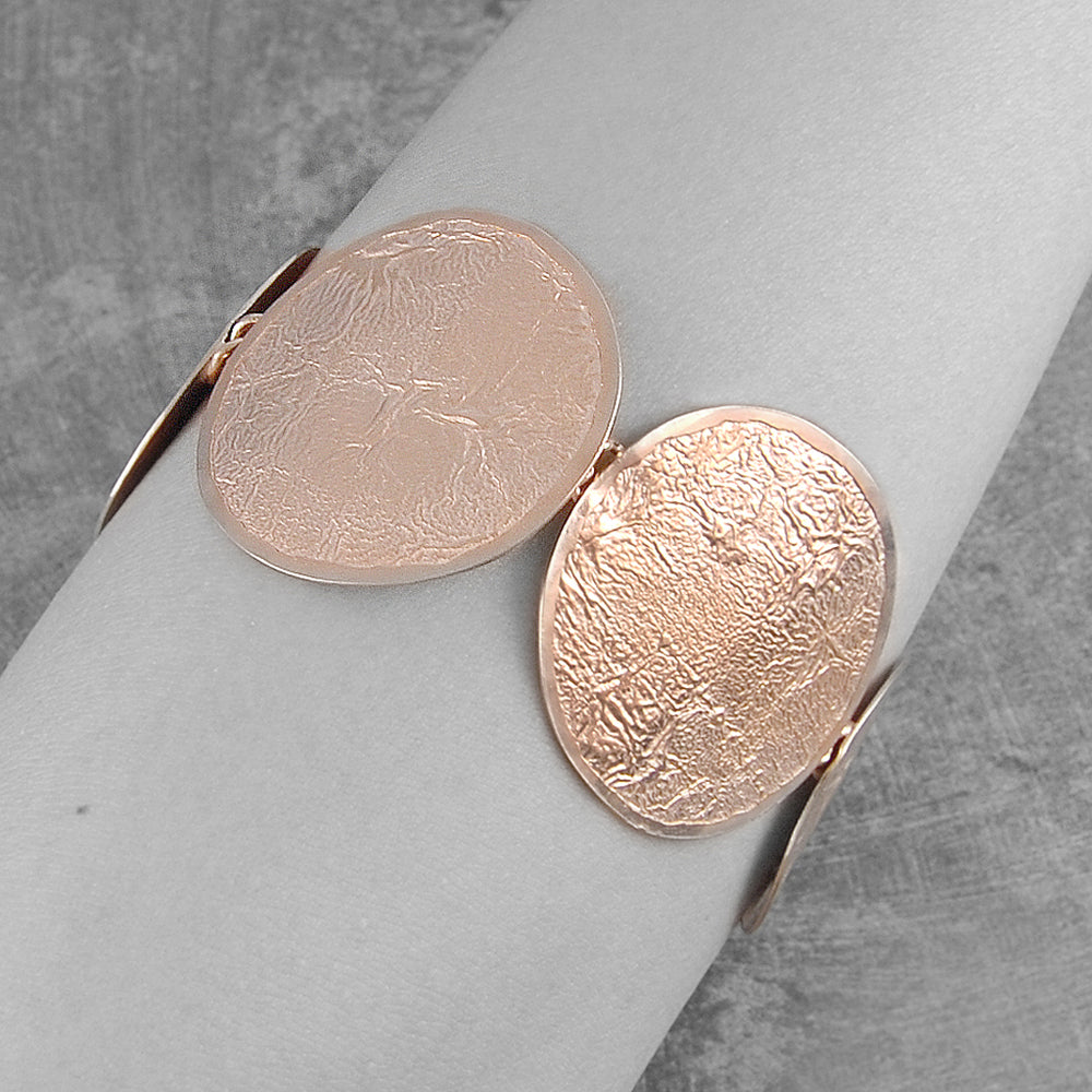 Rose Gold Round Textured Statement Bracelet - Otis Jaxon Silver Jewellery