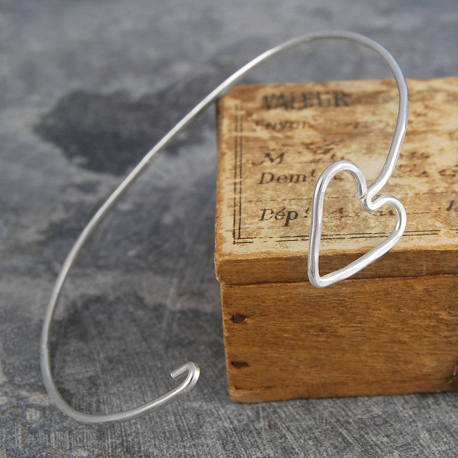 Silver Hinged Heart Bangle