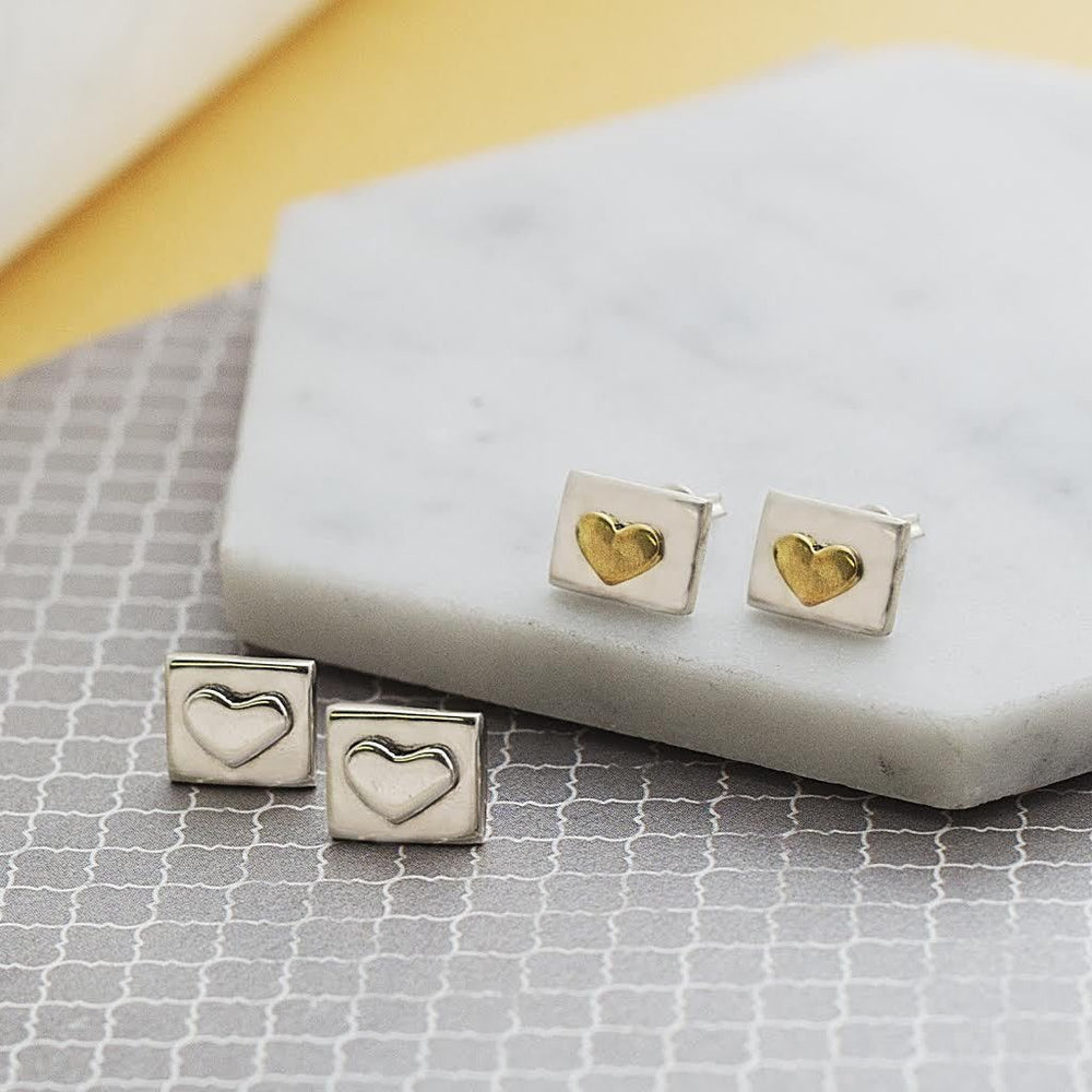 Silver Square Heart Stud Earrings