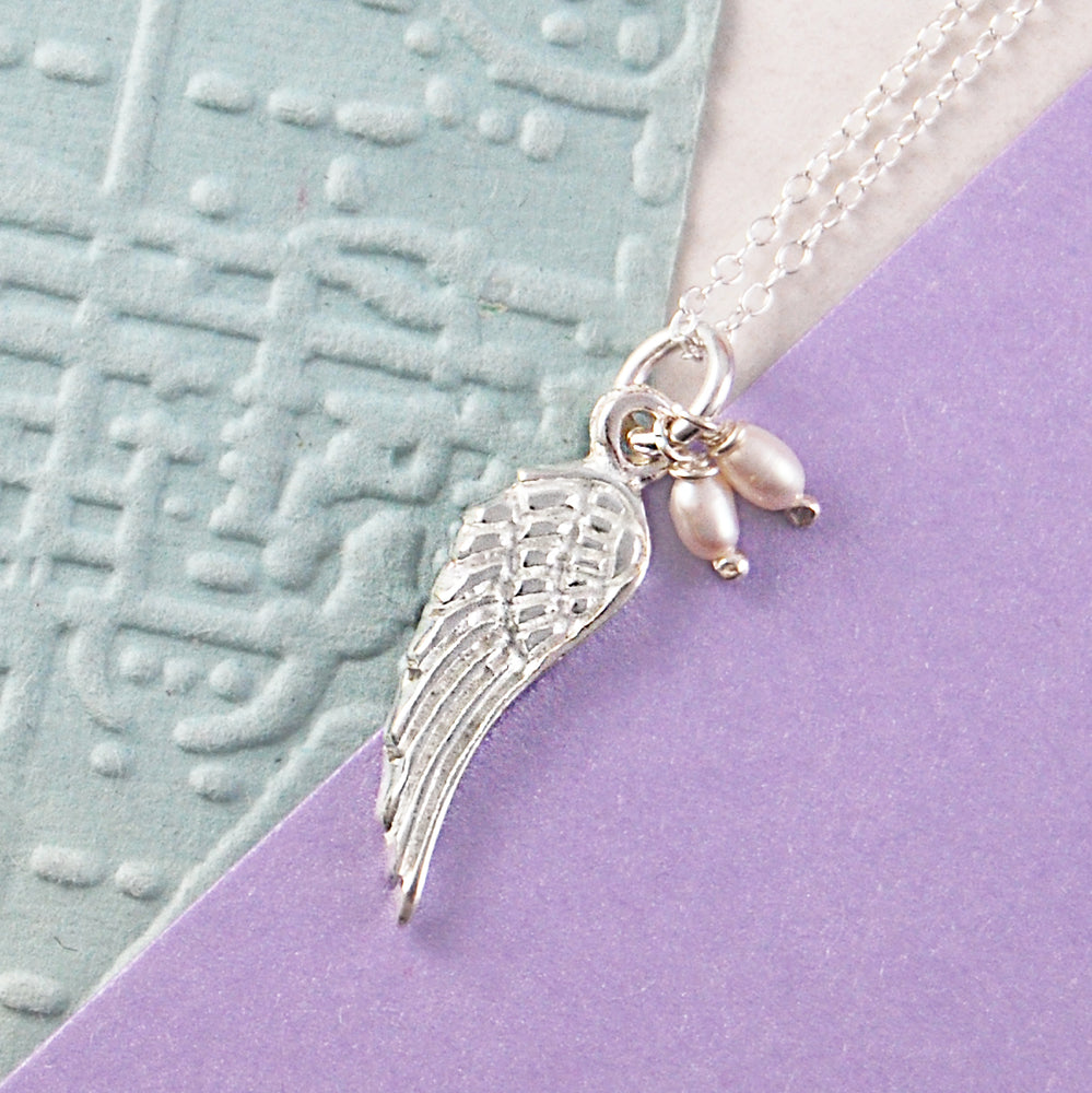 Pearl and Silver Angel Wing Necklace - Otis Jaxon Silver Jewellery